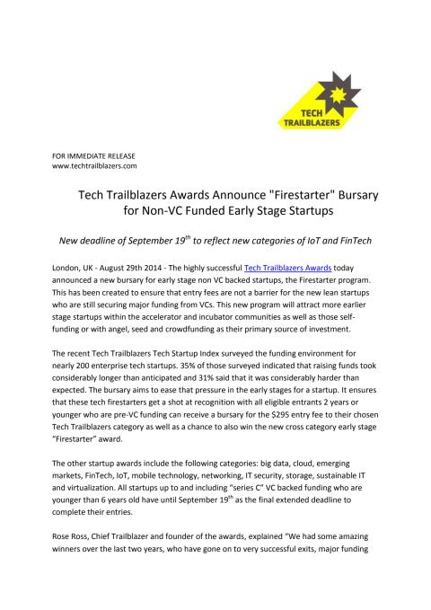"""Tech Trailblazers Awards Announce """"Firestarter"""" Bursary for Non-VC Funded Early Stage Startups"""