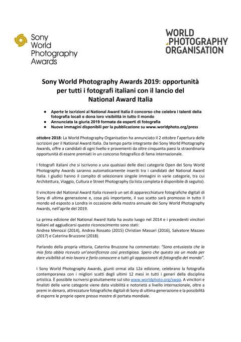 Sony World Photography Awards 2019: opportunità per tutti i fotografi italiani con il lancio del  National Award Italia
