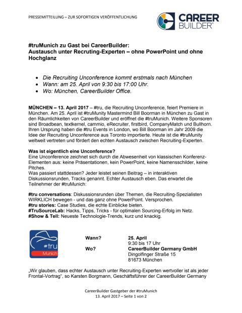 #truMunich zu Gast bei CareerBuilder: Austausch unter Recruting-Experten – ohne PowerPoint und ohne Hochglanz