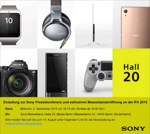 Einladung Sony Pressekonferenz IFA 2015 am 2. September