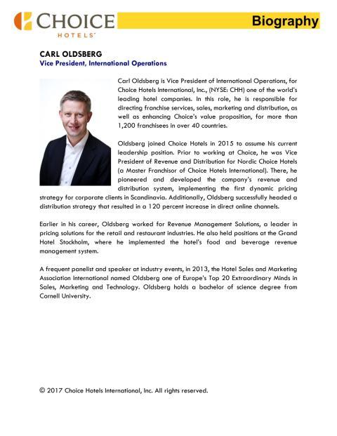 Biography, Carl Oldsberg, Vice President of International Operations
