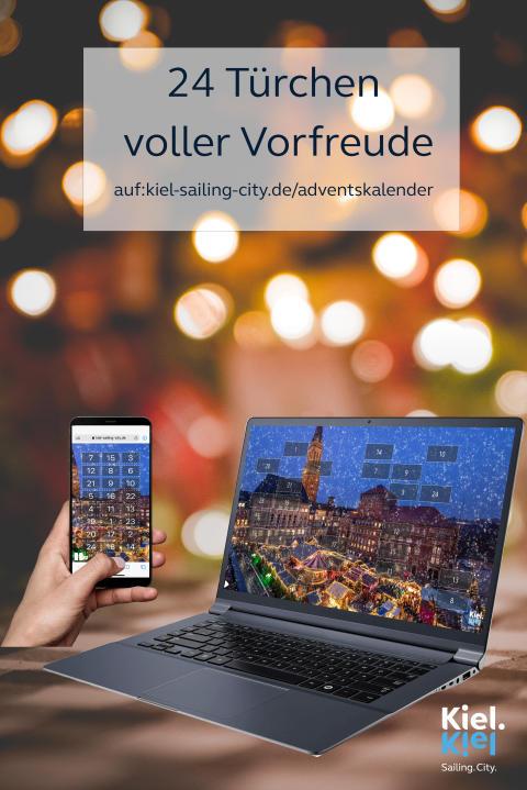 Adventskalender mit dem Motiv vom Kieler Weihnachtsdorf