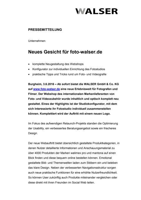Neues Gesicht für foto-walser.de