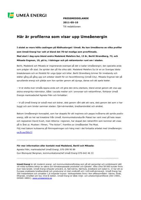 Här är profilerna som visar upp Umeåenergin