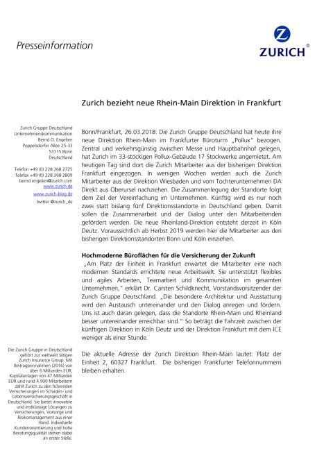 Zurich bezieht neue Rhein-Main Direktion in Frankfurt