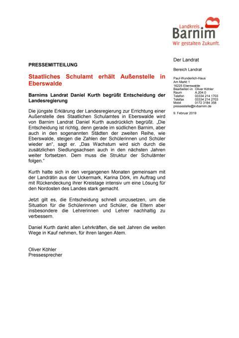 Staatliches Schulamt erhält Außenstelle in Eberswalde