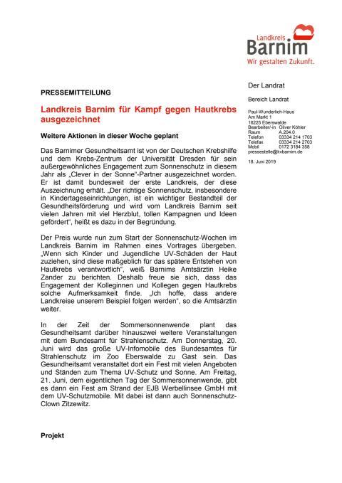 Landkreis Barnim für Kampf gegen Hautkrebs ausgezeichnet