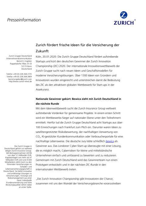Zurich fördert frische Ideen für die Versicherung der Zukunft