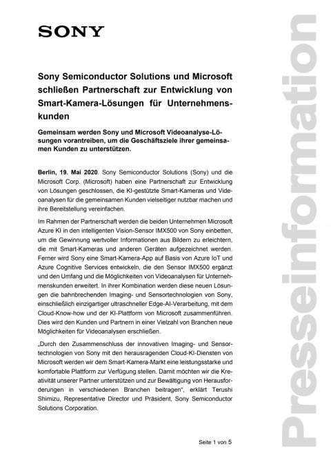 Sony Semiconductor Solutions und Microsoft schließen Partnerschaft zur Entwicklung von Smart-Kamera-Lösungen für Unternehmenskunden
