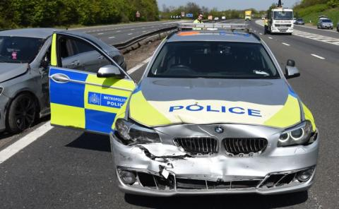 Dangerous driver who damaged police cars jailed