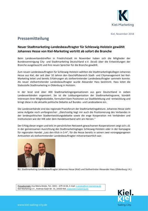 Neuer Stadtmarketing-Landesbeauftragter für Schleswig-Holstein kommt von Kiel-Marketing