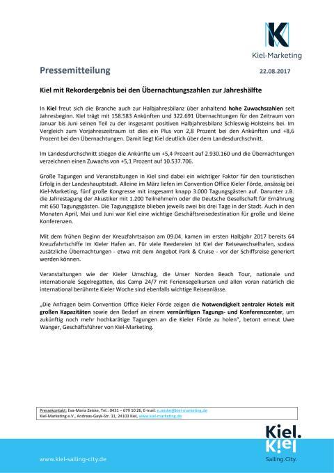 Halbjahresbilanz 2017 Tourismus in Kiel