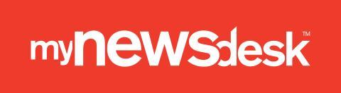 Mynewsdesk logo - red reverse out