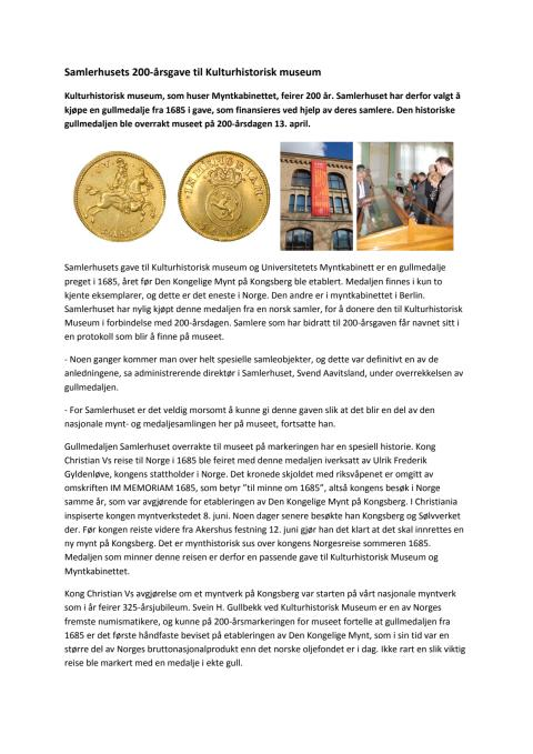 Samlerhusets 200-årsgave til Kulturhistorisk museum