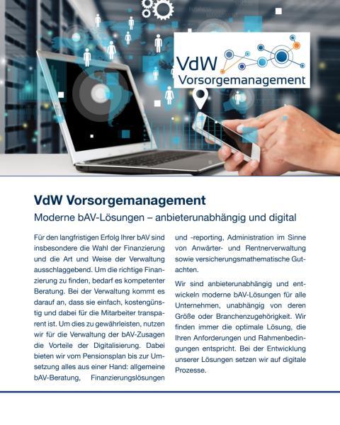 VdW Vorsorgemanagement: Moderne bAV-Lösungen – anbieterunabhängig und digital
