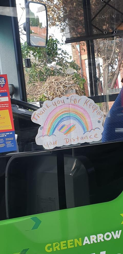 Rainbow drawing on a Go North East bus