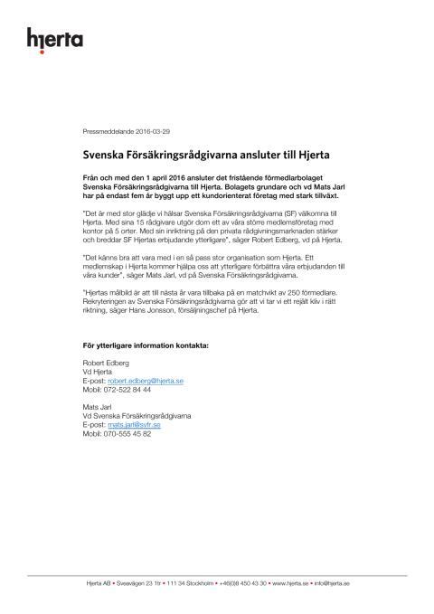 Svenska försäkringsrådgivarna ansluter till Hjerta