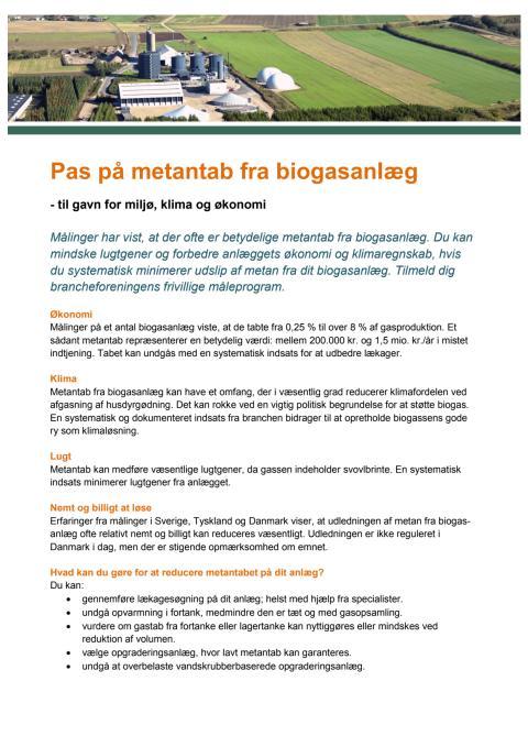 Faktaark: Pas på metantab fra biogasanlæg