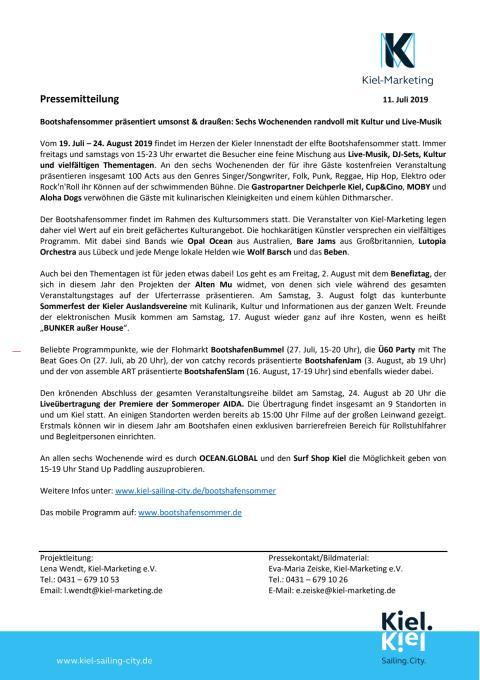 Pressemitteilung Auftakt Bootshafensommer