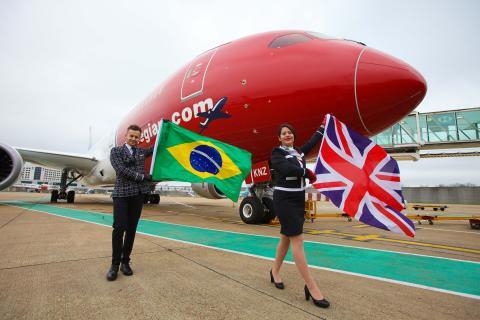 Norwegianin ensimmäinen lento Brasiliaan lähti matkaan
