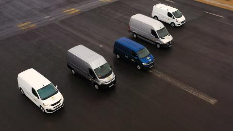 Commercial vans in testing at the Thatcham Research active safety testing facility 1