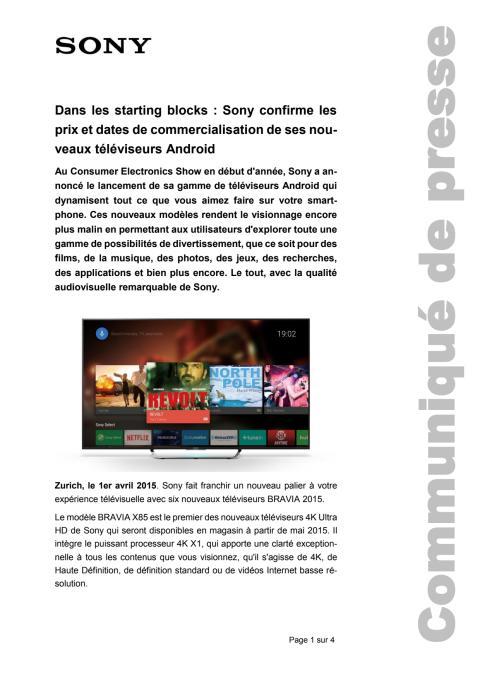Communiqué de presse_Sony_Availability BRAVIA TV_150401_F-CH