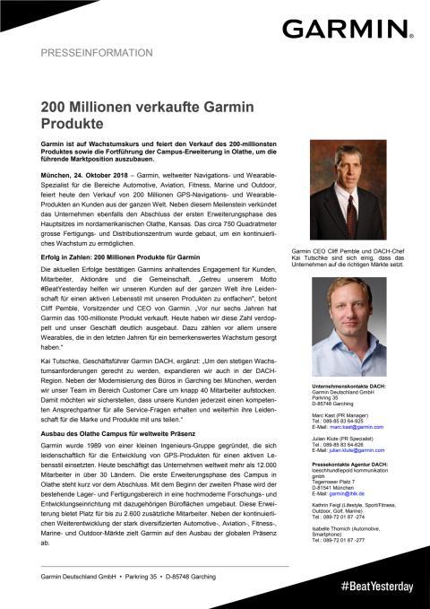 200 Millionen verkaufte Garmin Produkte