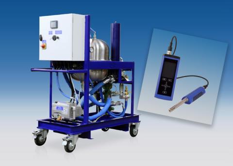 Fjerner vann og forurensning fra hydraulikkolje