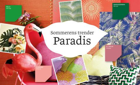 Frodig paradis er en trend preget av planter, fargerike fugler og kraftige jungelmønster.