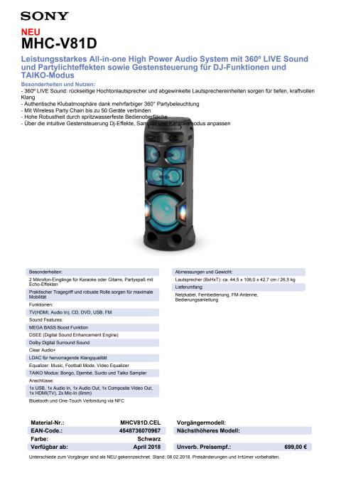 Datenblatt Audio System MHC-V81D von Sony