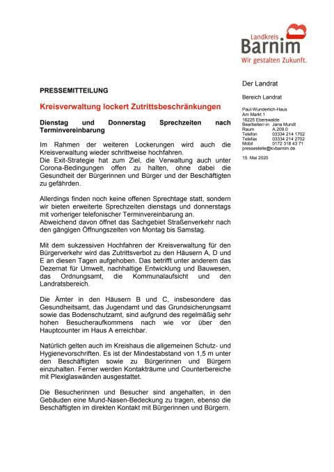 Kreisverwaltung lockert Zutrittsbeschränkungen