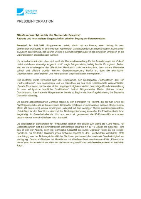 Glasfaseranschluss für die Gemeinde Borsdorf
