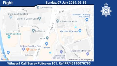 Appeal for witnesses following fight and dangerous driving in Guildford