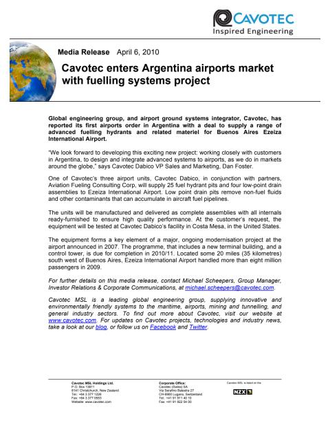 Cavotec enters Argentina airports market with fuelling systems project