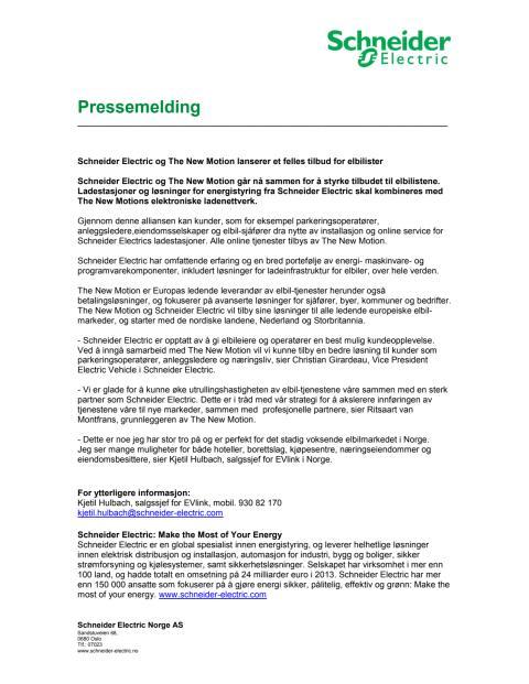 Schneider Electric og The New Motion lanserer et felles tilbud for elbilister