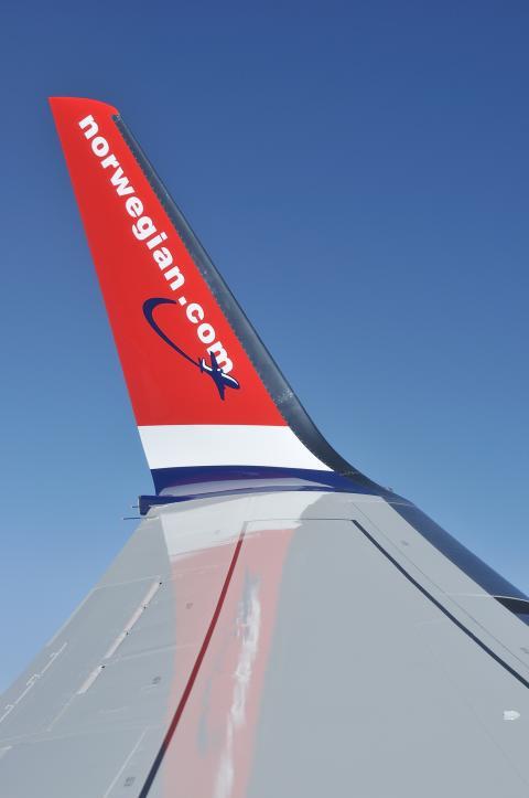 Winglet på Norwegian-flyet LN-DYA