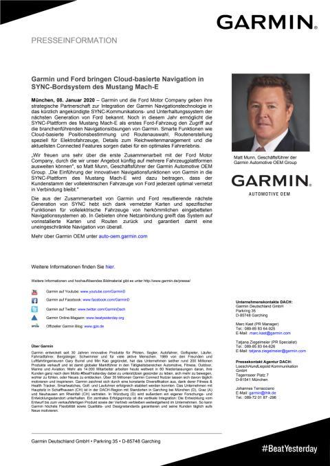 Garmin und Ford bringen Cloud-basierte Navigation in SYNC-Bordsystem des Mustang Mach-E