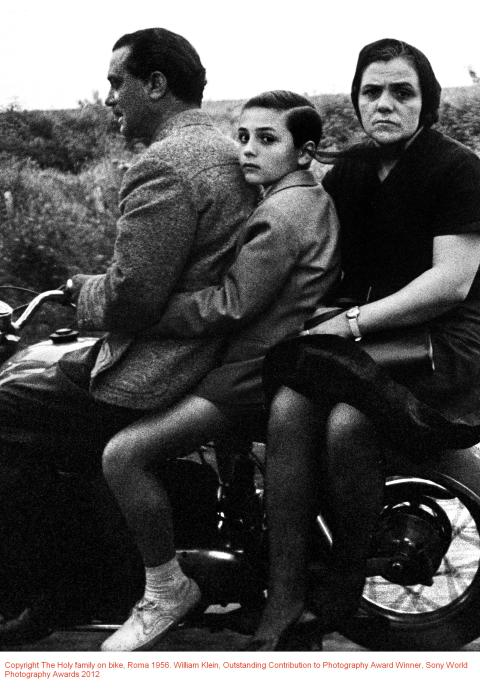 The Holy family on bike, Roma 1956. William Klein, Outstanding Contribution to Photography Award Winner, Sony World Photography Awards 2012