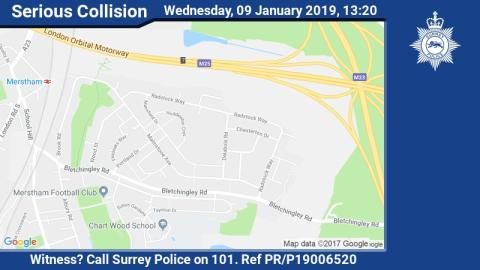 Appeal for witnesses following serious collision in Merstham