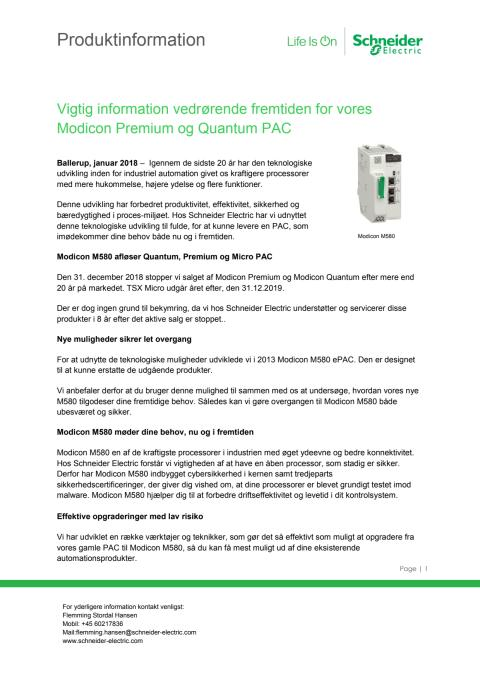 Vigtig information vedrørende fremtiden for vores Modicon Premium og Quantum PAC