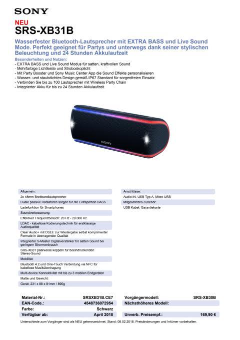 Datenblatt Wireless Speaker SRS-XB31 von Sony