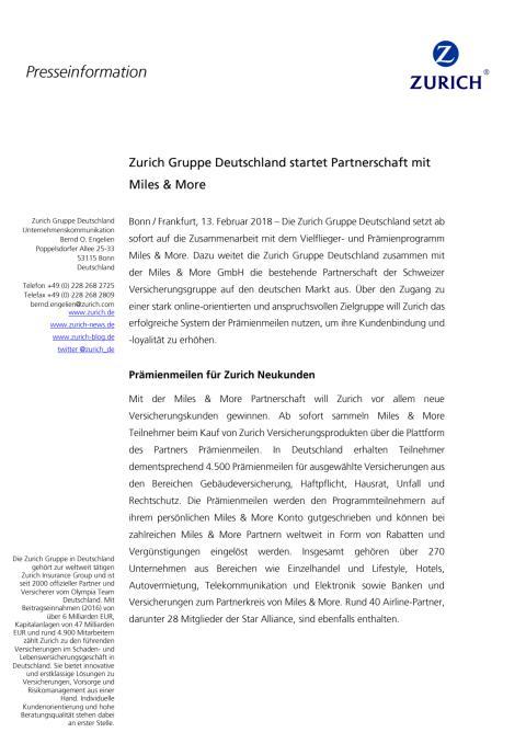 Zurich Gruppe Deutschland startet Partnerschaft mit Miles & More