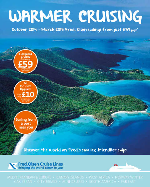 Fred. Olsen Cruise Lines' launches 'Warmer Cruising' brochure of great-value winter 2014/15 cruises