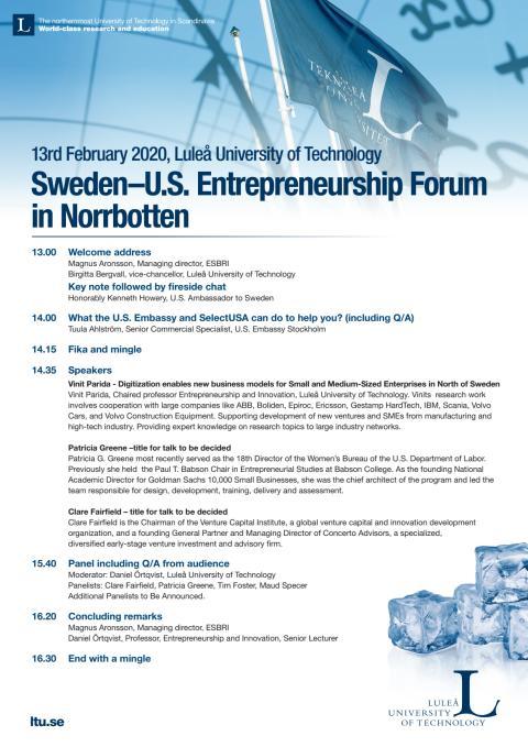 Sweden–U.S. Entrepreneurship Forum in Norrbotten