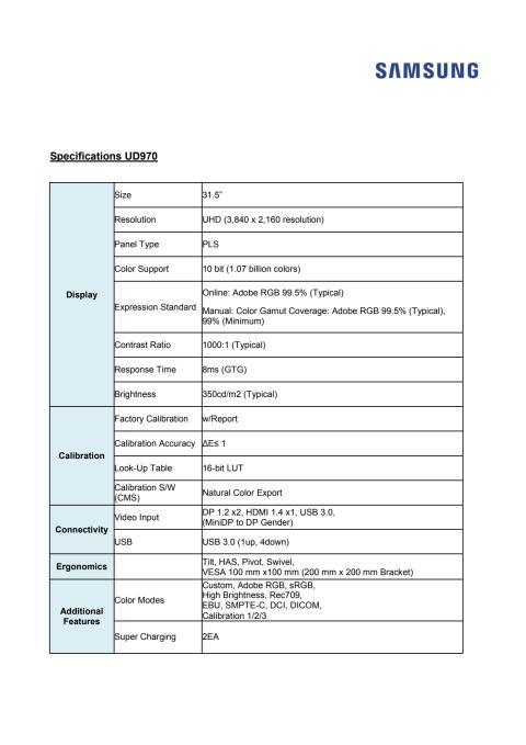 Specifikationer UD970