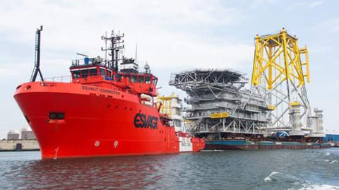 ESVAGT Helps Accommodation Module Into Position in The North Sea.