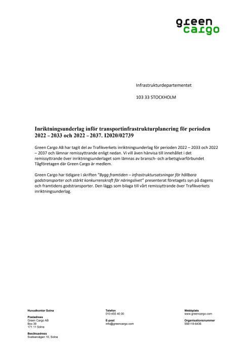 Remissvar Trafikverkets inriktningsunderlag Green Cargo 210114