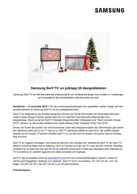 Samsung Serif TV: en julklapp till designälskaren