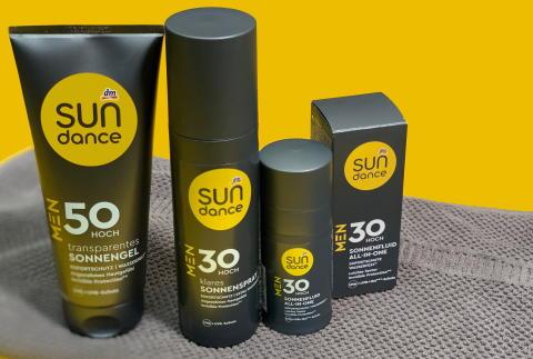 Neu bei dm: Sonnenpflegeprodukte von SUNDANCE speziell für Männer