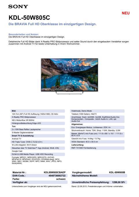 KDL-50W805C von Sony